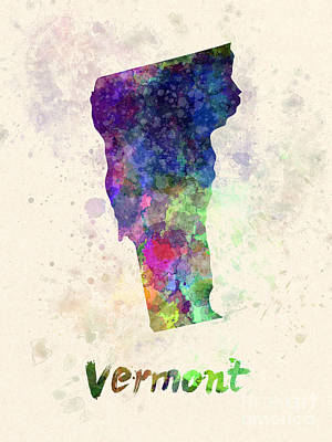 Vermont Us State In Watercolor Poster by Pablo Romero