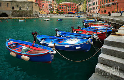 Vernazza Boats Poster by Inge Johnsson