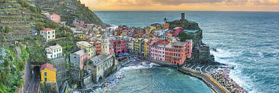 Vernazza Panorama - The Cinque Terre Poster by Rob Greebon