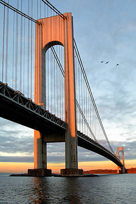 Verrazano Bridge At Sunrise - Verrazano Narrows Poster by Gary Heller