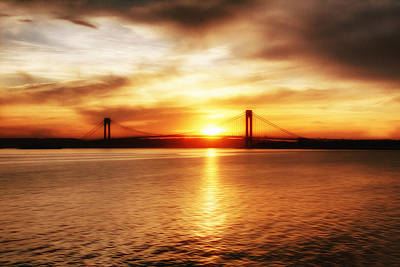 Verrazano Bridge At Sunset Poster
