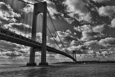 Verrazano Narrows Bridge In Bw Poster