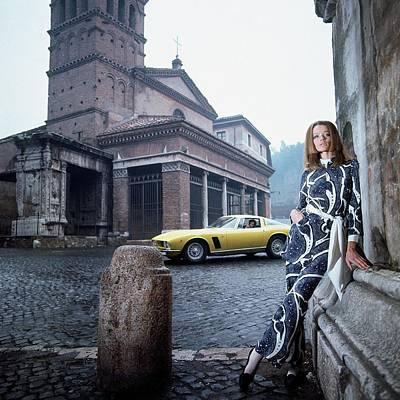 Veruschka Von Lehndorff Standing In Piazza Di San Poster