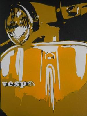 Vespa Yellow Poster by Leon Keay