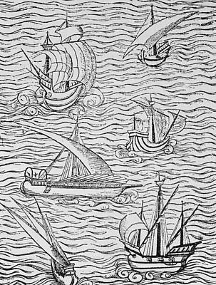 Vessels Of Early Spanish Navigators From The Narrative And Critical History Of American Poster by English School