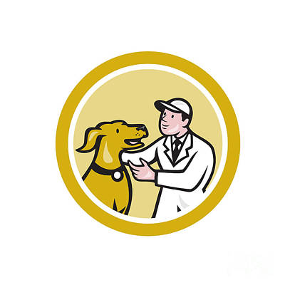 Veterinarian Vet Kneeling Beside Pet Dog Circle Cartoon Poster by Aloysius Patrimonio