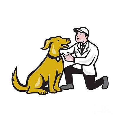 Veterinarian Vet Kneeling With Pet Dog Cartoon Poster by Aloysius Patrimonio