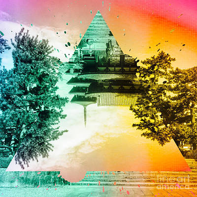Vibrant Ancient Temple And Pagoda Poster by Beverly Claire Kaiya
