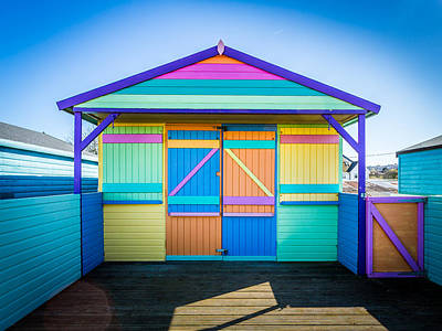 Poster featuring the photograph Vibrant Beach Hut by Gary Gillette