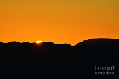 Vibrant Orange Sky Accompanies Sun Rising Over Grand Canyon With Distant Watchtower Silhouetted Poster