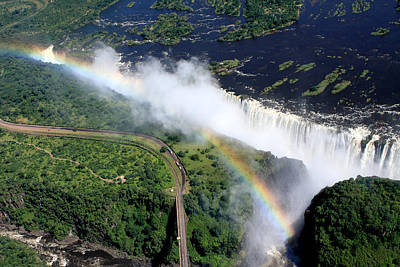 Rainbow Over Victoria Falls  Poster