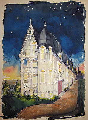 The Victorian Apartment Building By Rjfxx. Original Watercolor Painting. Poster