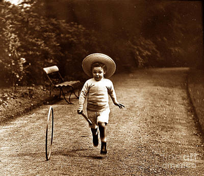 Victorian Childhood Hoop And Stick England Poster