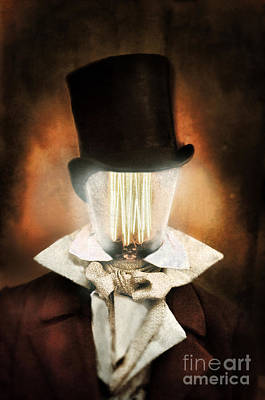 Victorian Man With A Lighbulb For A Head Poster by Jill Battaglia