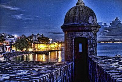 Viejo San Juan En La Noche Poster by Daniel Sheldon