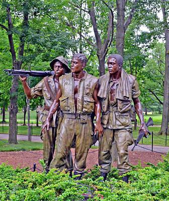 Vietnam War Memorial Three Servicemen Statue In Washington D.c. Poster