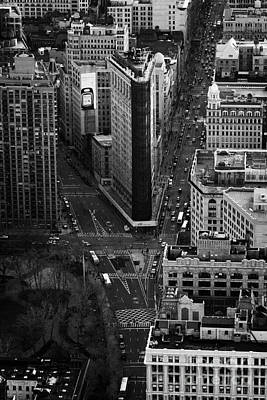 View Down Towards Flatiron Building 5th Ave And Broadway New York City Usa Poster by Joe Fox