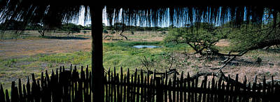 View From A Hut, Waterhole, Onguma Bush Poster