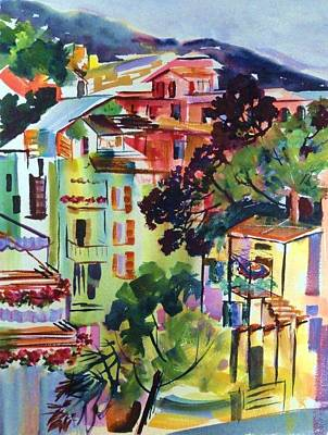 View From Our Hotel Window Cinque Terre Poster by Therese Fowler-Bailey