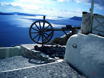 Poster featuring the photograph View From Santorini Island Greece by Colette V Hera  Guggenheim