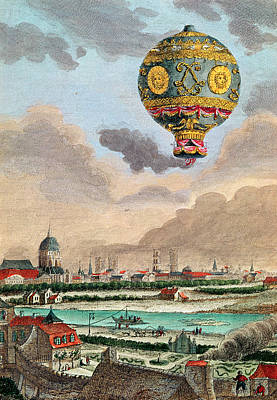 View From The Terrace Of Monsieur Franklin At Passy Of The First Flight Under The Direction Poster