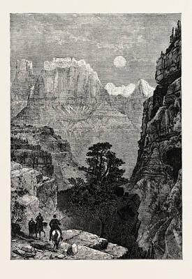 View In Utah Temple Of The Virgin Mu-koon-tu-weap Valley Poster by American School