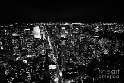 View North At Night Towards Central Park At Night New York City Skyline Poster
