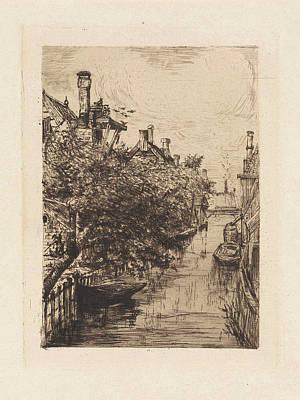 View Of A Canal In Amsterdam, Frans Schikkinger Poster by Frans Schikkinger