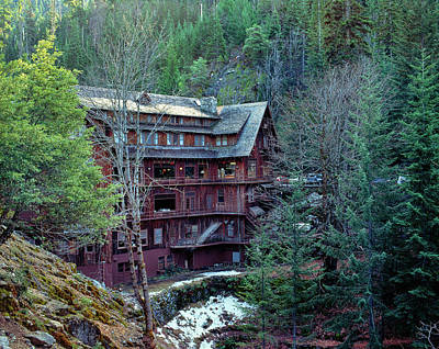 View Of Chalet In A Forest, Oregon Poster