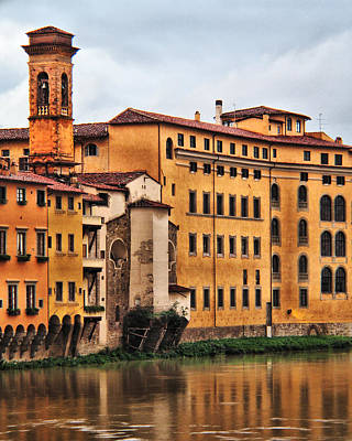 View Of Florence Along The Arno River Poster by Greg Matchick