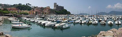 View Of Harbor And Castle Of Lerici Poster