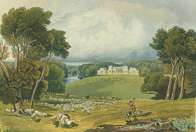 View Of Holkham Hall, Norfolk, Engraved Poster by Elizabeth Blackwell