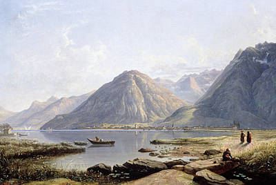 View Of Lake Geneva With The Town Of Villeneuve Poster by Francis Danby
