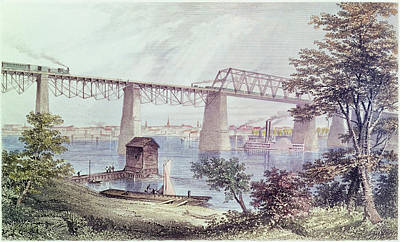 View Of Louisville Coloured Engraving Poster by Asa Coolidge Warren