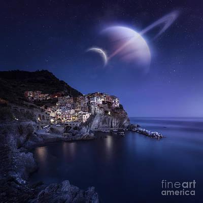 View Of Manarola On A Starry Night Poster by Evgeny Kuklev