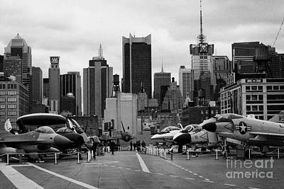 View Of Manhattan From The Flight Deck Of The Uss Intrepid  New York City Poster by Joe Fox