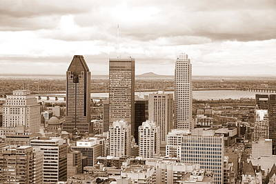 View Of Montreal In Sepia Poster by Valentino Visentini