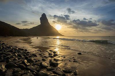 View Of Morro Do Pico From Praia Da Poster