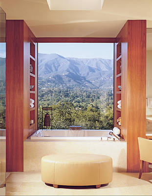 View Of Mountain Through Bathroom Window Poster