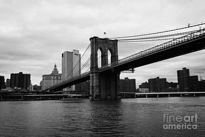 View Of New York From Beneath The Brooklyn Bridge New York Poster by Joe Fox