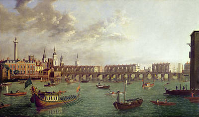 View Of Old London Bridge Oil On Panel Poster