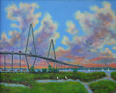 View Of Ravenal Bridge From The Marsh Poster by Dwain Ray