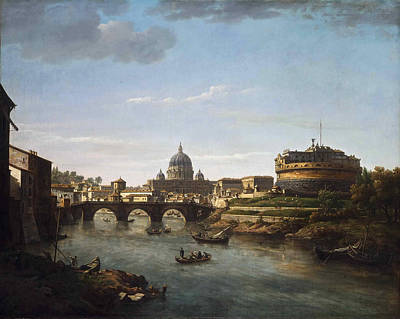 View Of Rome From The Tiber Poster by William Marlow