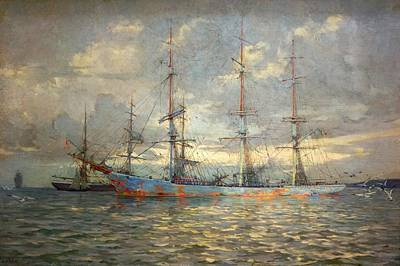 View Of Schooners At Anchor In A Cornish Estuary Poster