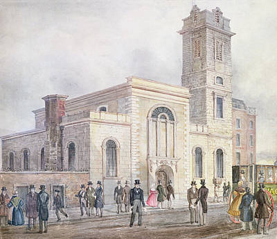 View Of St. Bartholomews Church Wc On Paper Poster by English School