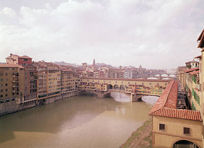 View Of The Arno And The Ponte Vecchio Photo Poster by Italian School