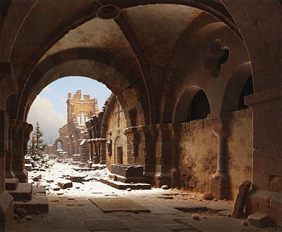 View Of The Church Ruin In Winter Poster by Carl Hasenpflug