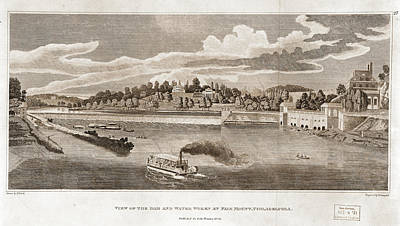 View Of The Dam And Water Works At Fairmount Poster by Litz Collection
