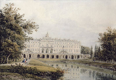 View Of The Great Palace Of Strelna Near St. Petersburg, 1841 Wc On Paper Poster by Yegor Yegorovich Meier