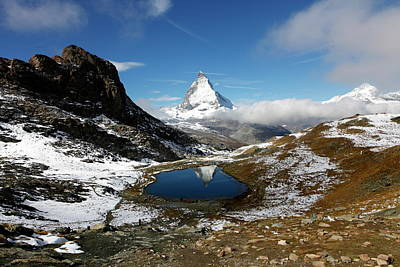View Of The Matterhorn And The Lake Poster by Jill Schneider